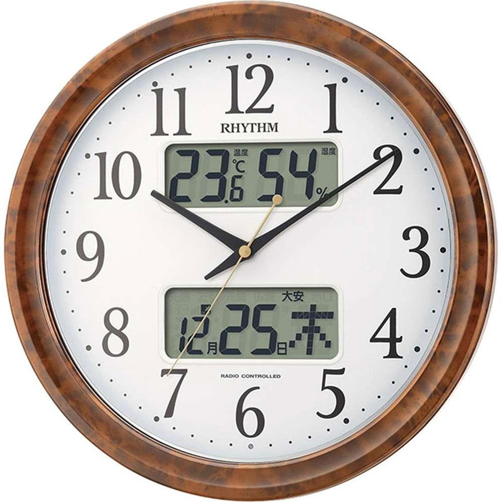 スーパーセール 9月 名入れ無料 プレゼント 電波時計 掛け時計 | リズム時計 名入れプレート付き 電波掛け時計 ピュアカレンダーM617SR NAI4FY617SR23 茶色木目仕上(白) | 掛け時計 | お祝い 竣工 設立 新生活 記念品 プレゼント