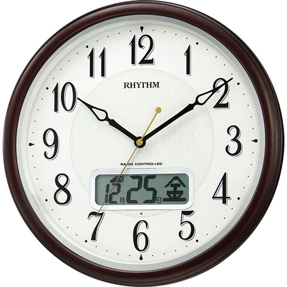 名入れプレート付き 電波_掛け時計 ピュアカレンダーM03SR 名入れプレート付 き 新築祝い 竣工記念 開店祝い 開業祝い プレゼント