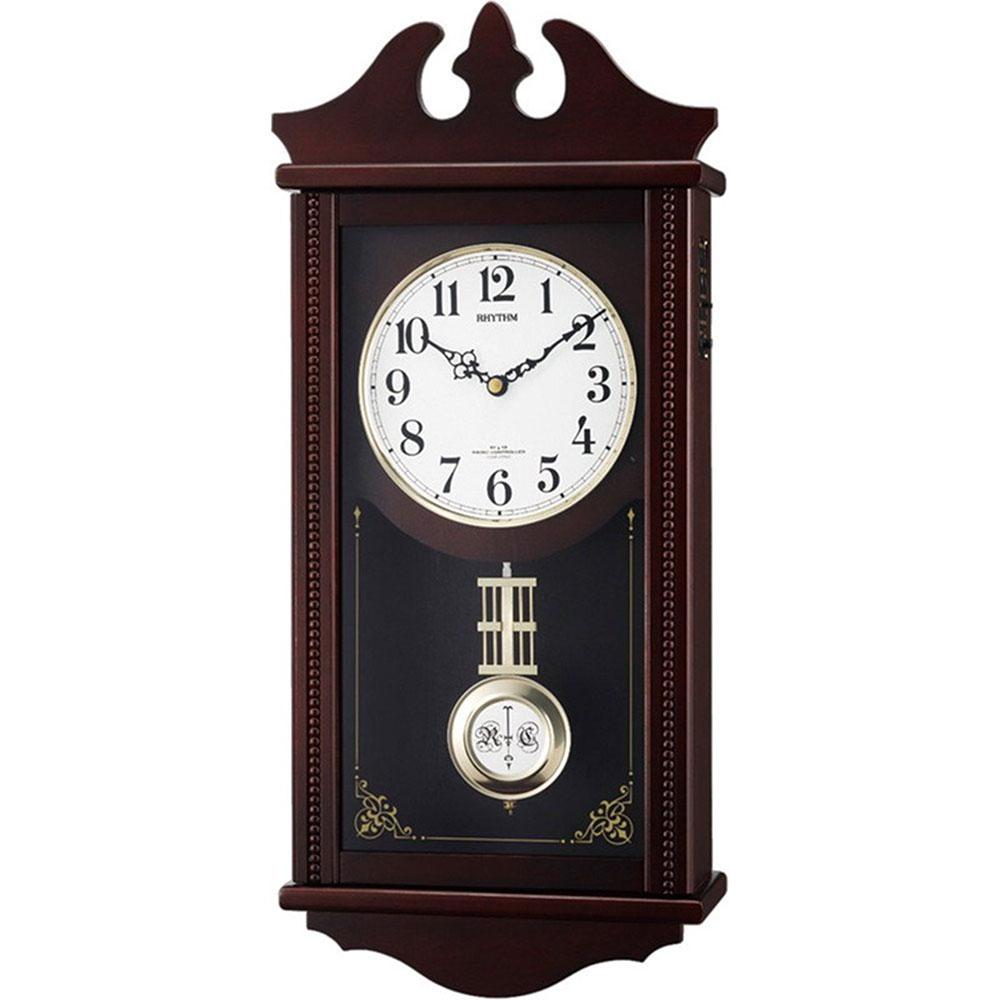 名入れ無料 プレゼント 電波時計 掛け時計 | リズム時計 名入れプレート付き ペデルセンR | 電波掛け時計 NAI4MNA03RH06 | 振り子時計 | お祝い 竣工 設立 新生活 記念品 プレゼント