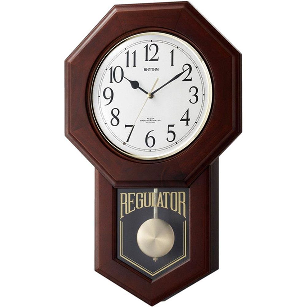 名入れ無料 プレゼント 電波時計 掛け時計 NAI4MNA06RH06 /リズム時計 名入れプレート付き 電波柱時計 モーランドR NAI4MNA06RH06 茶色半艶仕上(白)新築祝い 竣工記念 開店祝い 開業祝い