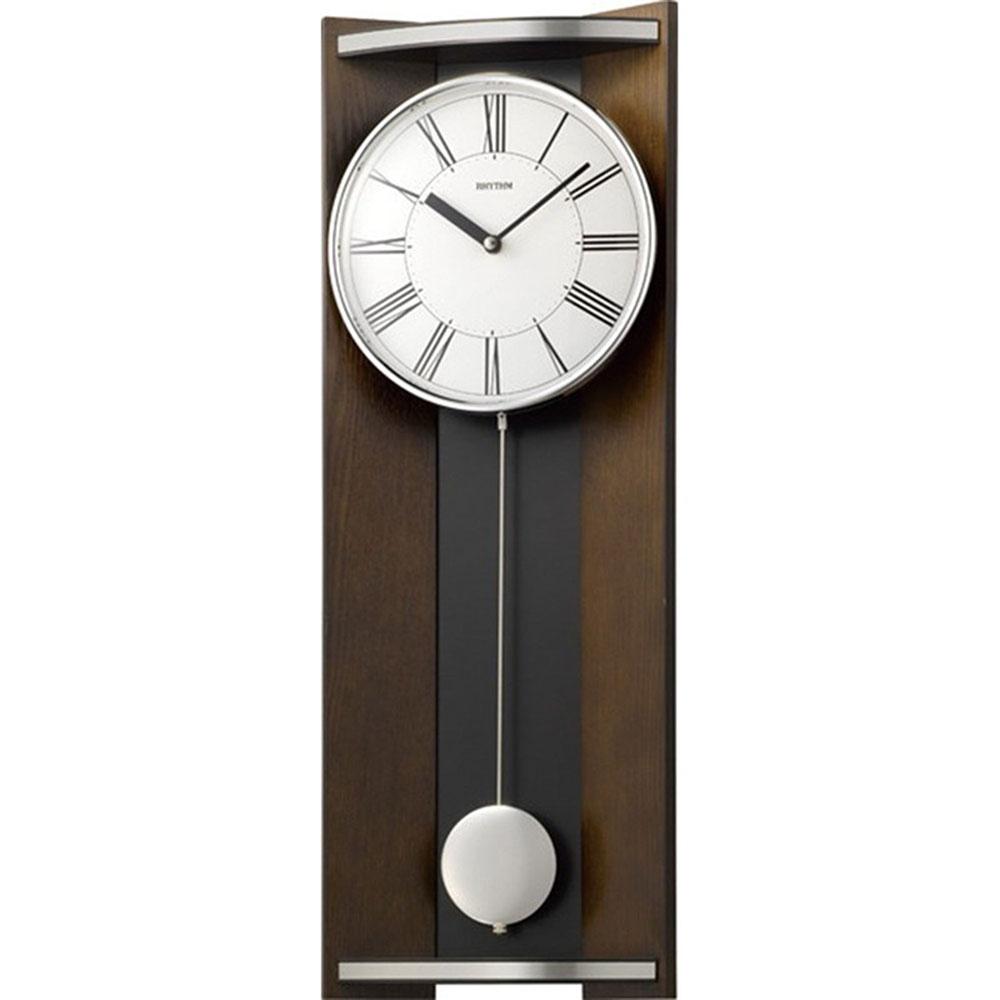 スーパーセール 9月 名入れ無料 プレゼント インテリアクロック | リズム時計 名入れプレート付き 掛け時計 モダンライフM05 NAI4MPA05RH06 茶色半艶仕上(白) | 振り子時計 | お祝い 竣工 設立 新生活 記念品 プレゼント