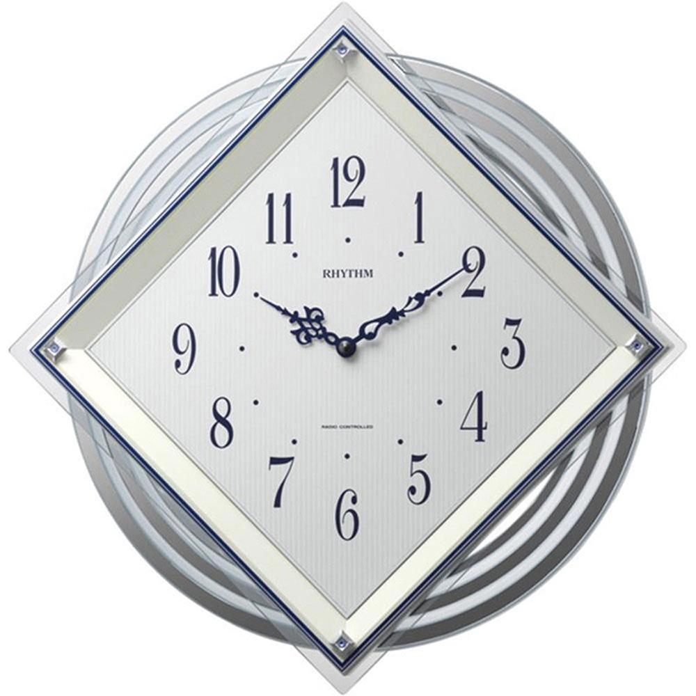 名入れ無料 プレゼント インテリアクロック NAI4MX405SR03 /リズム時計 名入れプレート付き 電波掛け時計 ビュレッタ NAI4MX405SR03 白(白パール色)新築祝い 竣工記念 開店祝い 開業祝い
