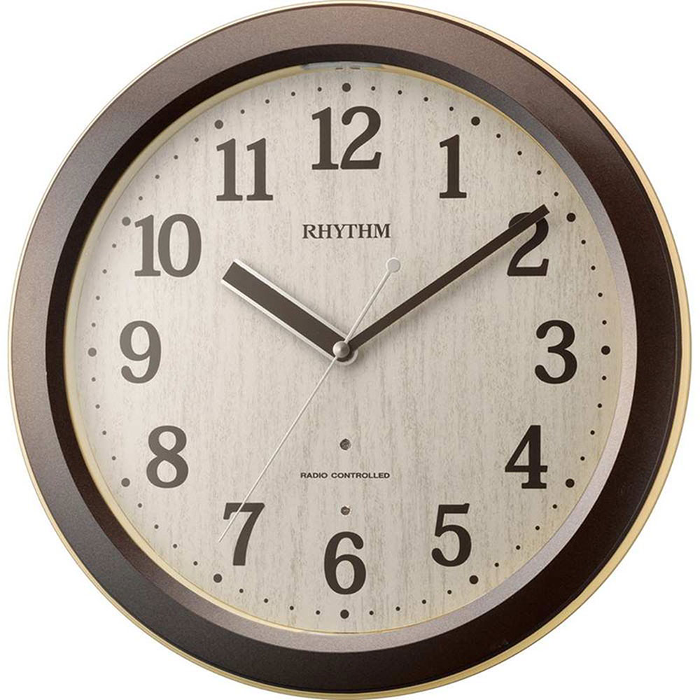 名入れ無料 プレゼント 電波時計 掛け時計 | リズム時計 名入れプレート付き ピュアライトM33 | 電波掛け時計 NAI4MYA33SR06 | 掛け時計 | お祝い 竣工 設立 新生活 記念品 プレゼント