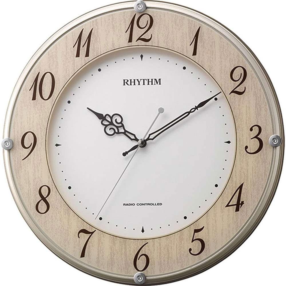名入れ無料 プレゼント 電波時計 掛け時計 | リズム時計 名入れプレート付き ライブリーナチュレ | 電波掛け時計 NAI8MY506SR23 | 掛け時計 | お祝い 竣工 設立 新生活 記念品 プレゼント