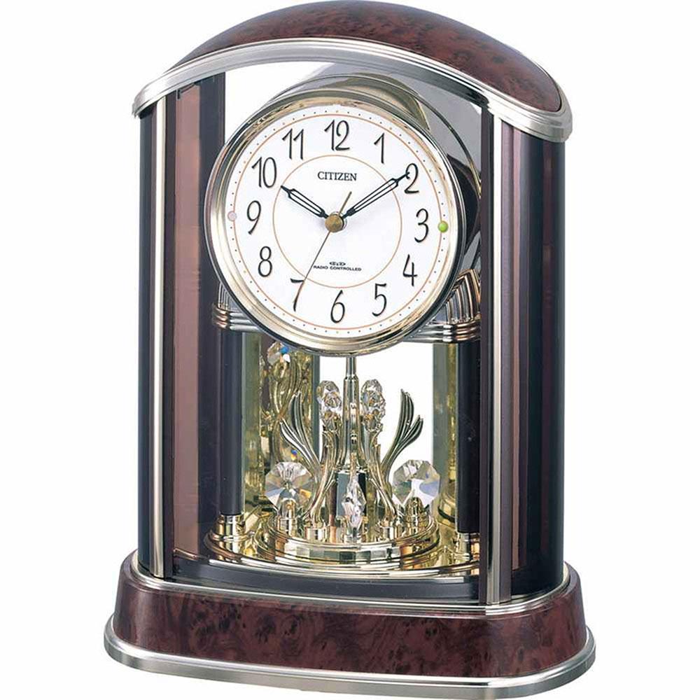 名入れ無料 プレゼント 電波時計 掛け時計 NAI4RY658-N23 /リズム時計 名入れプレート付き 電波_置き時計 パルアモールR658N NAI4RY658-N23 茶色木目仕上(アイボリー)新築祝い 竣工記念 開店祝い 開業祝い