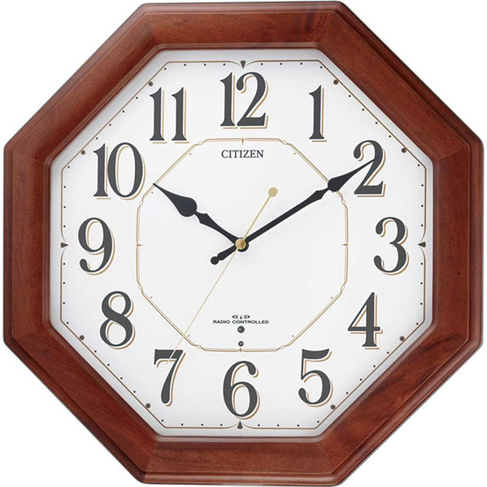 リズム時計 名入れプレート付き 電波_掛け時計 ネムリーナハピネス 名入れプレート付 き NAI8MY472-006 電波_掛け時計 茶色半艶仕上(白) 新築祝い 竣工記念 開店祝い 開業祝い