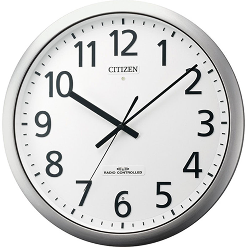 スーパーセール 9月 名入れ無料 プレゼント 電波時計 掛け時計 | リズム時計 名入れプレート付き 電波掛け時計 パルフィス484 NAI8MY484-019 銀色ヘアライン仕上(白) | 掛け時計 | お祝い 竣工 設立 新生活 記念品 プレゼント