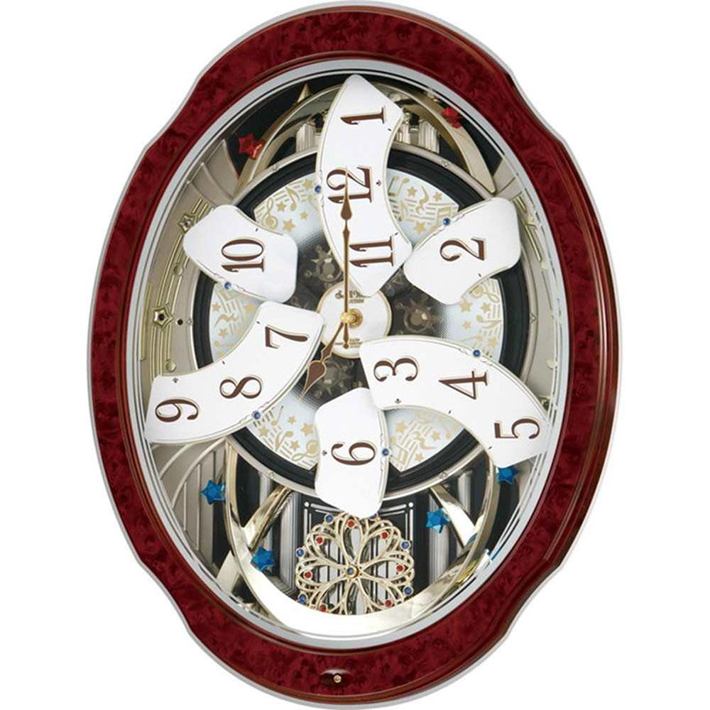 名入れ無料 プレゼント 電波時計 掛け時計 | リズム時計 名入れプレート付き スモールワールドブルームD X | 電波掛け時計 NAI4MN499RH23 | からくり時計 | お祝い 竣工 設立 新生活 記念品 プレゼント