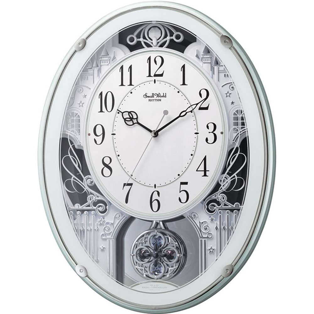 名入れ無料 プレゼント 電波時計 掛け時計 | リズム時計 名入れプレート付き スモールワールドプラウド | 電波掛け時計 NAI4MN523RH05 | 掛け時計 | お祝い 竣工 設立 新生活 記念品 プレゼント