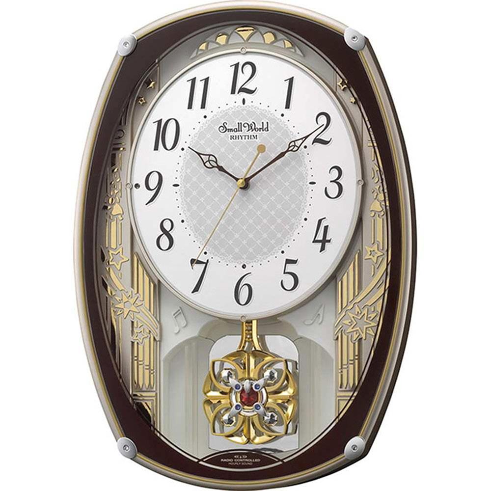 名入れプレート付き 電波_掛け時計 スモールワールドレジーナ 名入れプレート付 き 新築祝い 竣工記念 開店祝い 開業祝い プレゼント