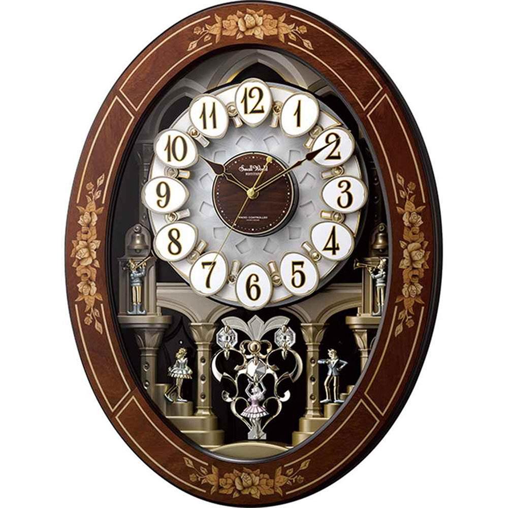 名入れ無料 プレゼント 電波時計 掛け時計 | リズム時計 名入れプレート付き スモールワールドレガロ | 電波掛け時計 NAI4MN546RH06 | からくり時計 | お祝い 竣工 設立 新生活 記念品 プレゼント