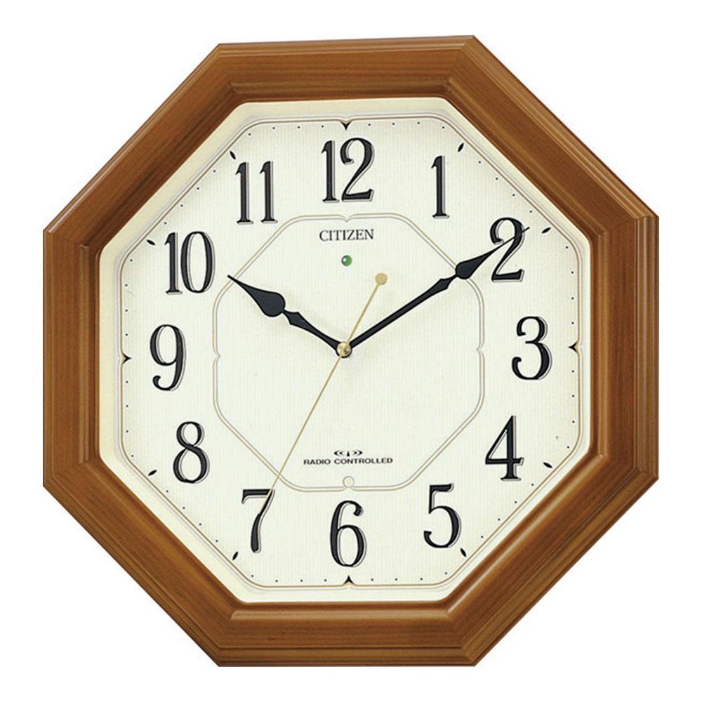 名入れ対応可 電波時計 掛け時計 | リズム時計 八角電波掛時計 | 電波掛け時計 4MY645-006 | 掛け時計 | お祝い 竣工 設立 新生活 記念品 プレゼント