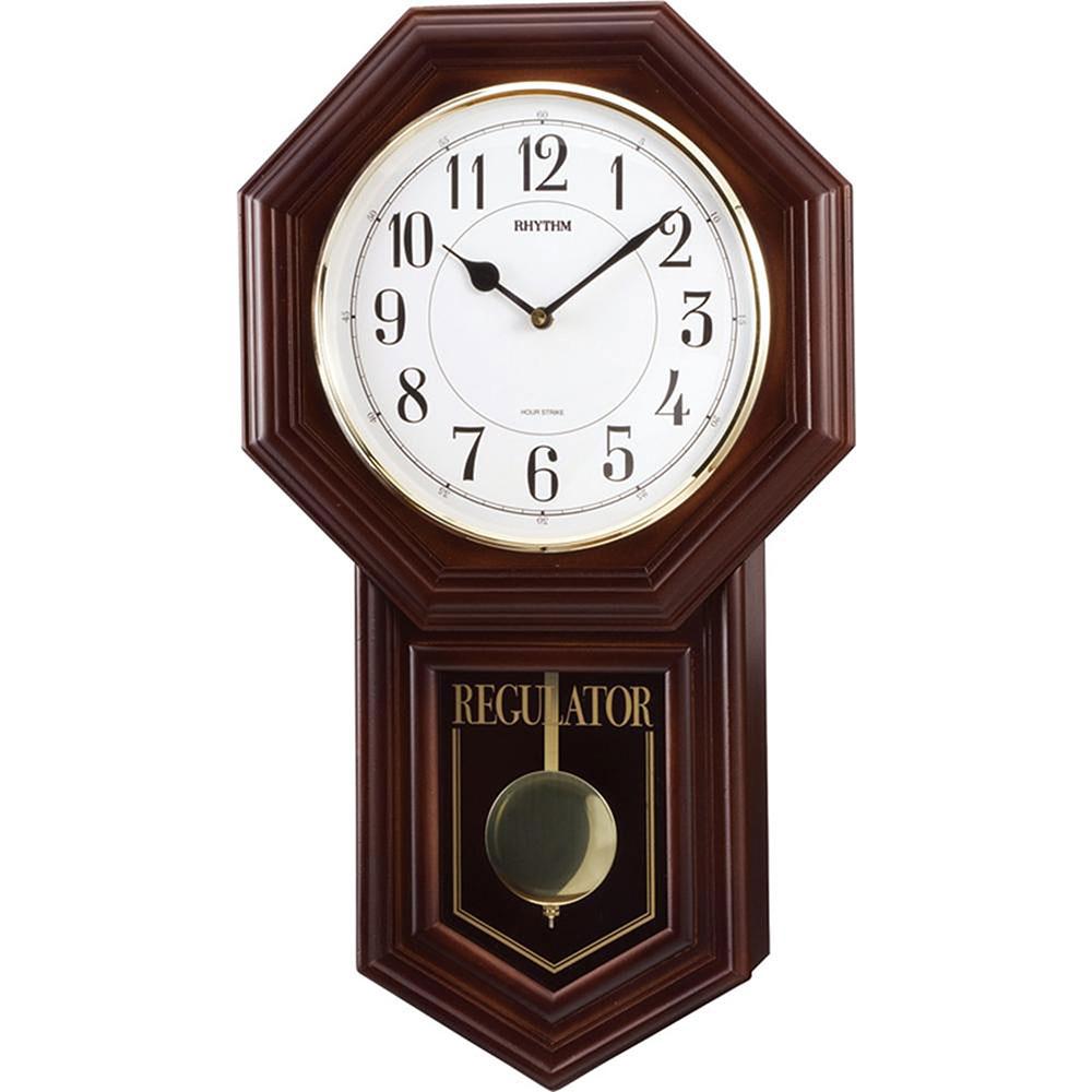 リズム時計 シチズン 柱時計 ベングラーR 振子時計 4MJA03RH06 柱時計 茶色半艶仕上(白) 新築祝い 竣工記念 開店祝い 開業祝い