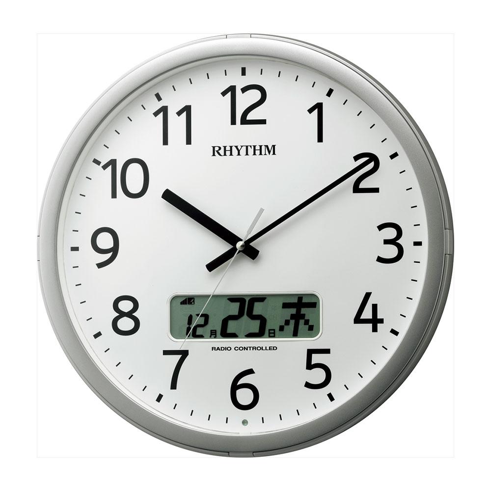 名入れ対応可 電波時計 掛け時計 | リズム時計 プログラムカレンダー01SR | 電波掛け時計 4FNA01SR19 | 掛け時計 | お祝い 竣工 設立 新生活 記念品 プレゼント