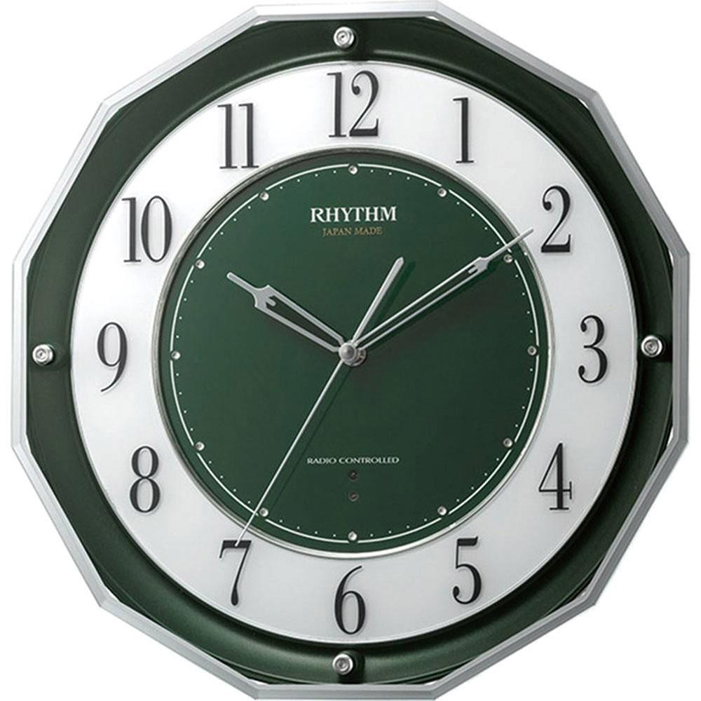 名入れ対応可 電波時計 掛け時計 4MY846SR05 /リズム時計 RHYTHM 電波掛け時計 リズム スリーウェイブM846 4MY846SR05 緑メタリック(緑)新築祝い 竣工記念 開店祝い 開業祝い