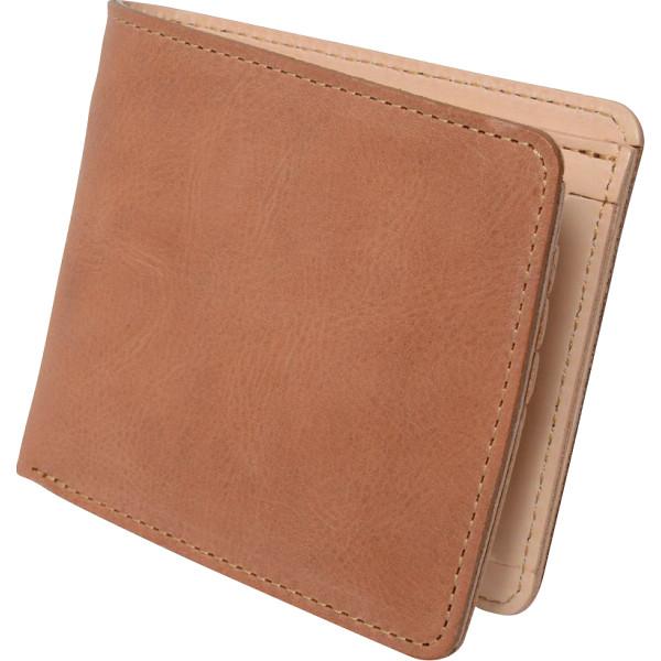 ヌメ革 二つ折り財布 キャメル OJ-4021 【ギフト対応不可】