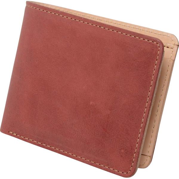 ヌメ革 二つ折り財布 レッド OJ-4021 【ギフト対応不可】
