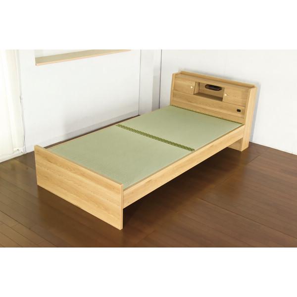【送料無料】【メーカー直送/代引き不可】 高さが3段階で調整できる畳ベッド(棚・コンセント・照明付) ナチュラル シングルサイズ 316-85-SW 【ギフト対応不可】