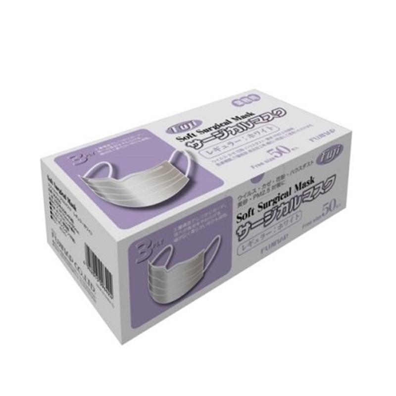 送料無料/新品 サージカルマスク レギュラー 50枚 フジ サージカル マスク 白 ソフト 3プライ ギフト対応不可 25%OFF 尚美堂