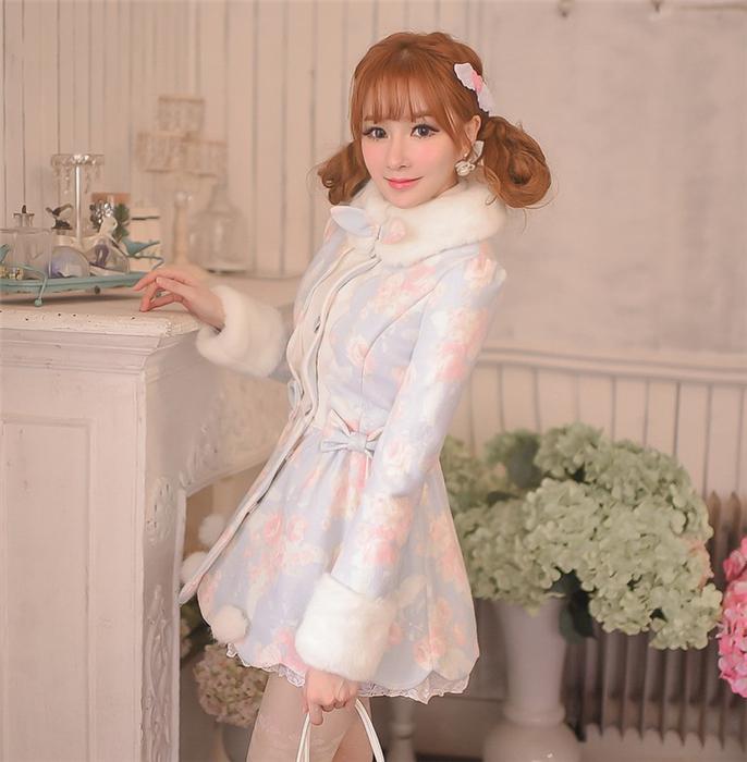 CandyRain 冬 花柄ウールコート アウター 姫系 萌え萌え 可愛い レディースファッション Y-02070 れのPのおすすめ