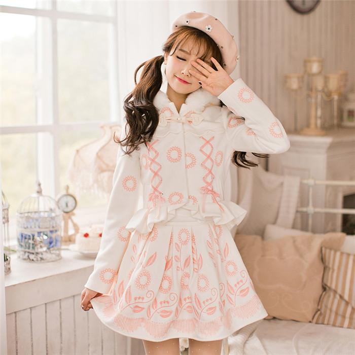 CandyRain 秋 セットアップ:花柄ウールコート&スカート フード付き 姫系 萌え萌え 可愛い レディースファッション Y-2262 れのPのおすすめ