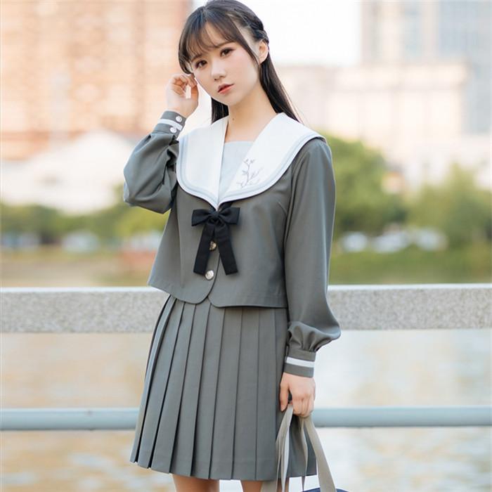 DreamSwing セットアップ:冬服セーラー服/プリーツスカート/リボン グレー 女子高生 JK制服 大きいサイズ アウター ジャケット レディースファッション LJKJ04 れのPのおすすめ