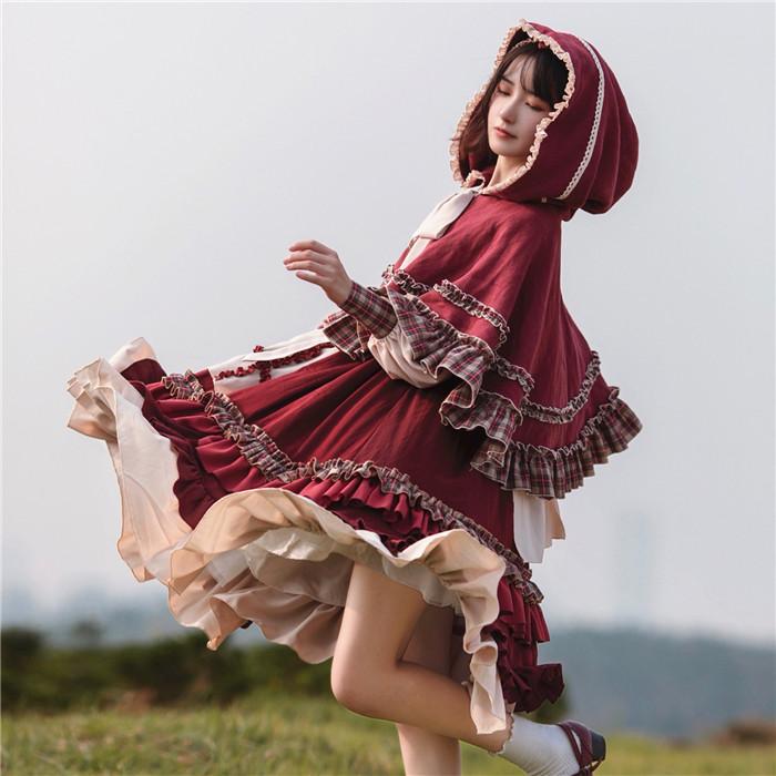 LolitaAlice レディース 赤ずきんちゃんのお得な3点セット マント&ワンピース&ヘアアクセサリー 長袖  GZ163 秋 編み込み風 ガーリー チェック 乙女系 姫系 萌え萌え ロリータワンピース 可愛い 送料無料 10代20代30代 れのPのおすすめ