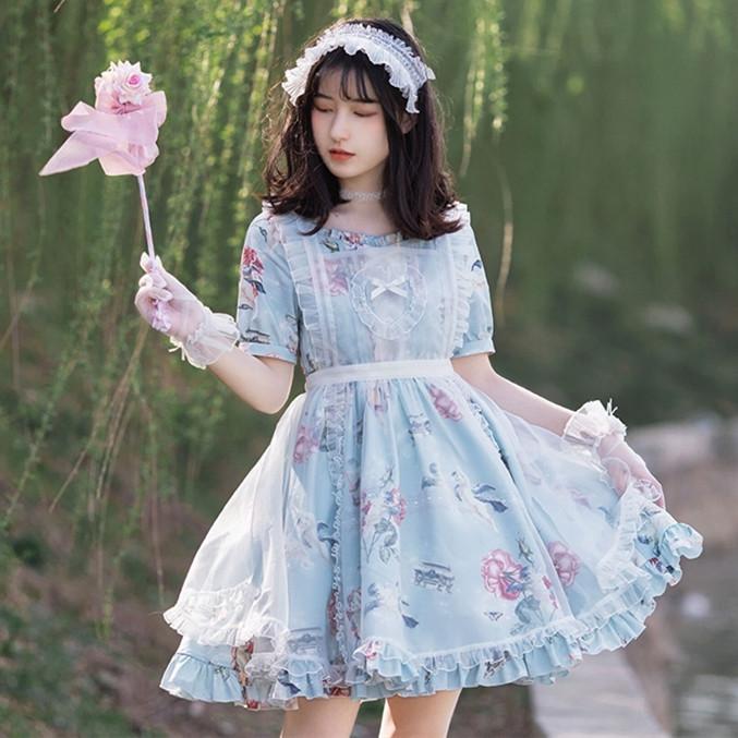 DreamSwing レディース 花柄ワンピース ライトブルー DS439 夏 乙女系 姫系 れのPのおすすめ