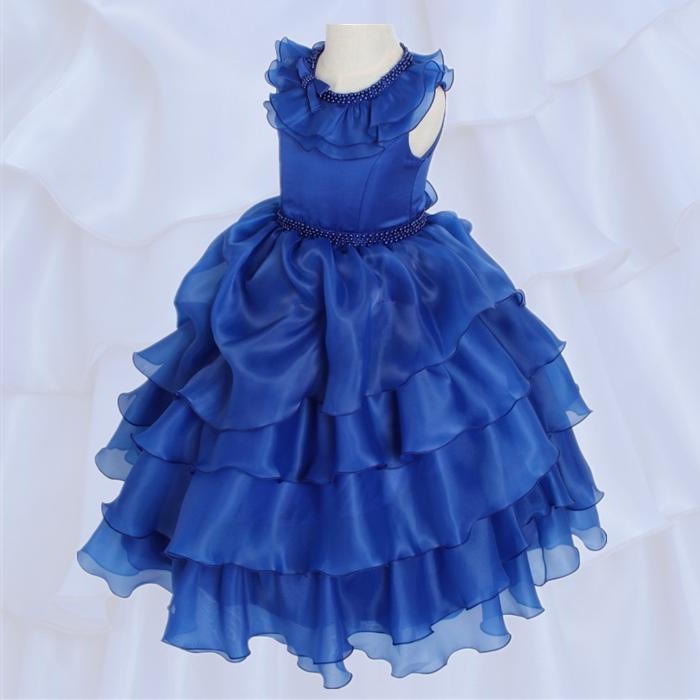 湘南DRESS|ブランド:DressNotes|キッズフォーマル ロング丈 子供ドレス アルドーレ2 ロイヤルブルー