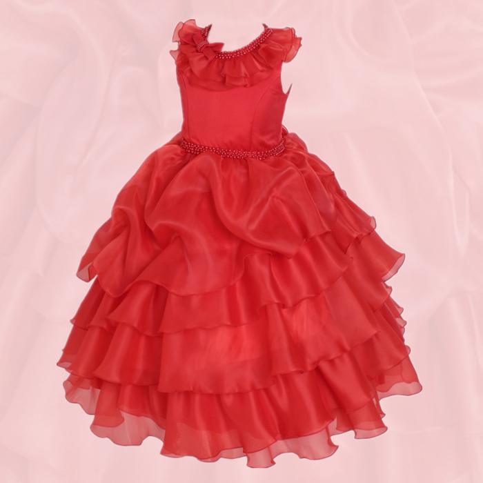 湘南DRESS|ブランド:DressNotes|キッズフォーマル ロング丈 子供ドレス アルドーレ2 RED