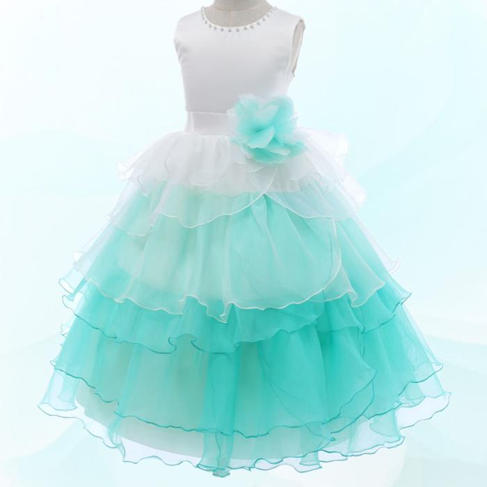 湘南DRESS|ブランド:DressNotes|キッズフォーマル ロング丈 子供ドレス F52067 ライトグリーン
