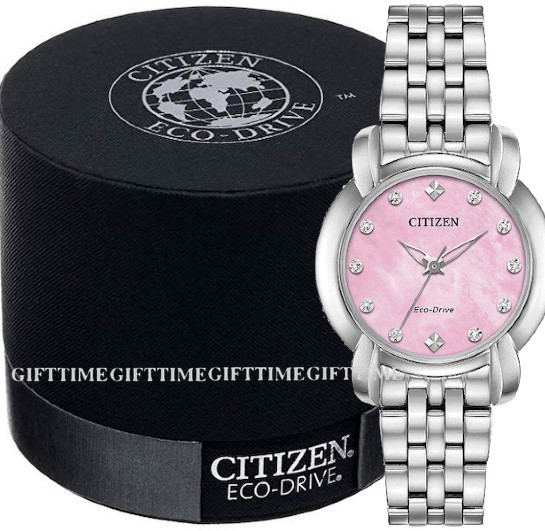 CITIZEN シチズン EM0710-54Y JOLIEECO-DRIVE SILVER / PINK MOTHER OF PEARL DIAMONDS STAINLESS LADIES エコ・ドライブ ピンク・シルバー ステンレス レディース時計 em0710-54y