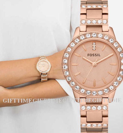 ☆FOSSIL[フォッシル] ES3020JESSE ROSE-GOLD CRYSTAL STAINLESS ジェシー クリスタル ローズゴールド クオーツ レディース 腕時計