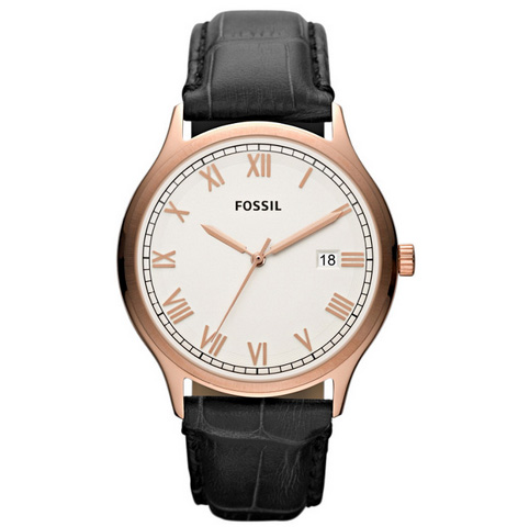 FOSSIL[フォッシル] fs4743 Mens Ansel White Dial Rose Gold-Tone Watchメンズ 腕時計