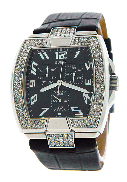 GUESS u12519l1Crystals Black Leather レザー StrapLadies Watchレディース 腕時計