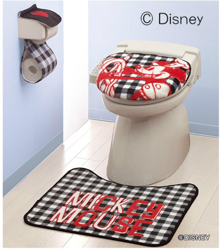 ディズニーキャラクターのトイレ用品3点セット あす楽 トイレ用品3点セット 特売 ミッキーチェック トイレ用品 マット ミッキー 市販 ディズニー ペーパーホルダー 蓋カバー Disney