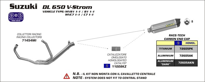 Arrow DL650V-Strom 11-16 永遠の定番 フルエキ アウトレットセール 特集 ステンレス 触媒付き チタン 72605PK+71454MI+11008KZ カーボンエンドキャップ