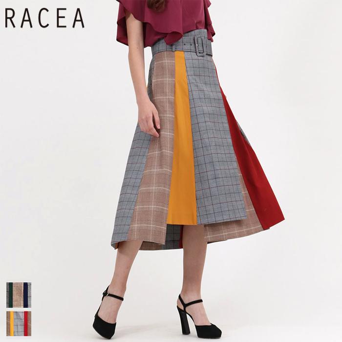 RACEA/ラシア ミックスパーツウエストベルトスカート (グレー・ブラウン/Mサイズ/20210408)