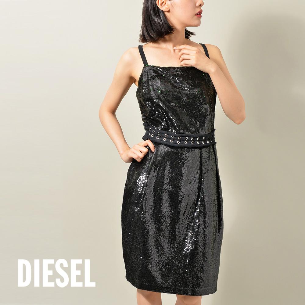 デイリー から様々な 激安特価品 オケージョン にまで使える万能な一枚 DIESEL 限定タイムセール ディーゼル DRESS キャミワンピース スパンコール BOOKIE レディース ワンピース