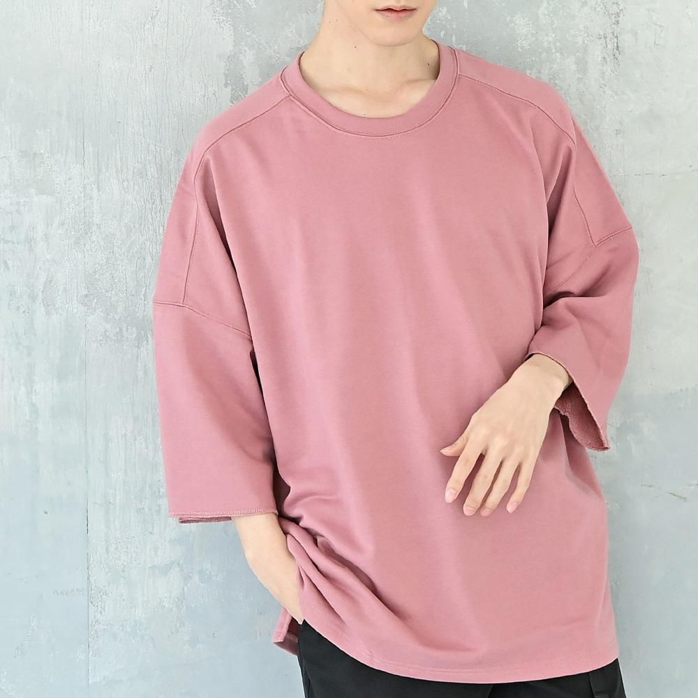 ゆったりとしたビッグシルエットと程よく着丈長めのロング丈仕様のデザインがポイント 9分 7分丈ビッグトレーナー Tシャツ 人気急上昇 アウトレット☆送料無料 メンズ カットソー