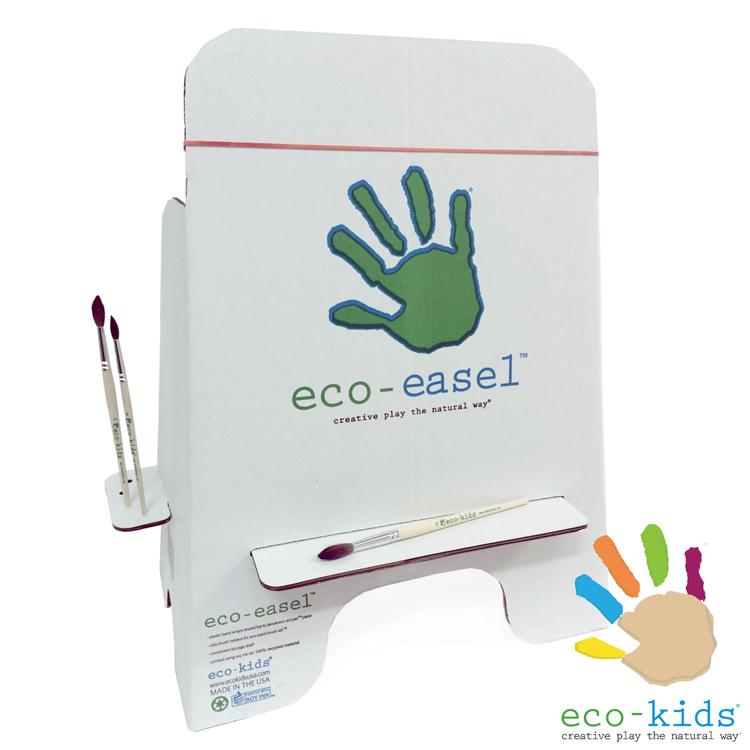 ポートランド発 舗 自然素材のアートツール eco-kids エコキッズ エコ 宅配便指定商品 新登場 イーゼルエコ アートパッドを留めるゴムがついている ブラシを置けるホルダーも完備 サイドにはエコ