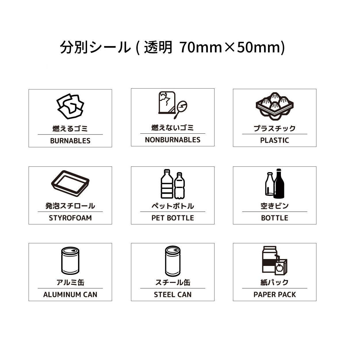 ごみ ごみ箱 分別 リサイクル エコ 店 シール ゴミ 透明 70mm×50mmゴミ箱 リサイクルボックス 燃えるゴミ アルミ缶 ペットボトル 安い プラスチック 空きビン クリア 紙パック シンプル スチール缶 燃えないゴミ 発泡スチロール