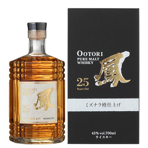 鳳 OOTORI 25年 ミズナラ樽仕上げ 700ml 43度 ジャパニーズ ピュアモルト ウイスキー 国産 日本 JAPANESE Pure Malt WHISKY Aged 25 Years MIZUNARA おおとり オオトリ
