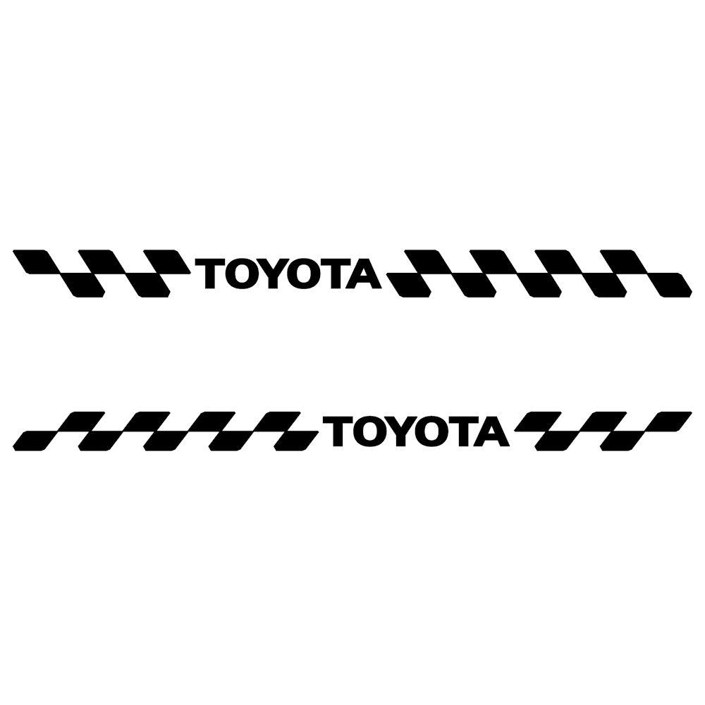 トヨタ TOYOTA ステッカー 車 チェッカー エンブレム 枠サイズ:4cm×46cm×左右反転セット スポーツ ドライブ 車用 ドレスアップ 外装 パーツ カー用品 かっこいい デカール ステッカー