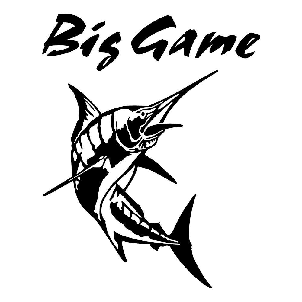 Big Game ステッカー カジキ ステッカー 釣り トロリーングサイズ:30cm×24cm 右向き(黒色)車ステッカー リアガラス ステッカー 車