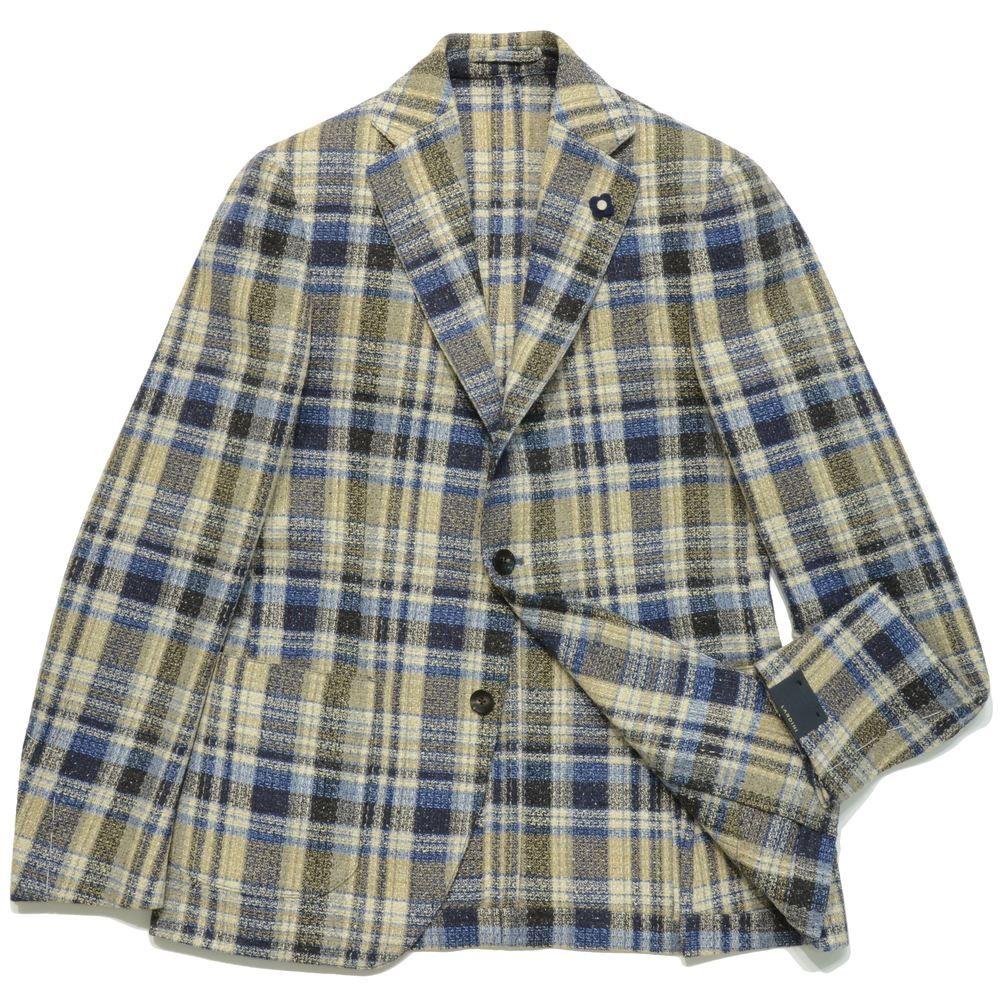 【SALE50】LARDINI(ラルディーニ)シルクウールナイロンライトツィードタータンチェック3Bジャケット JI903Q/A46565 17061009022