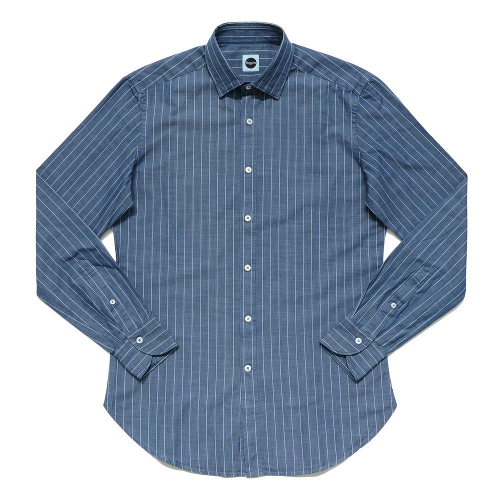 Bagutta(バグッタ)コットンシャンブレー白抜きストライプワイドカラーシャツ BERLINOJ/05562 11062002054