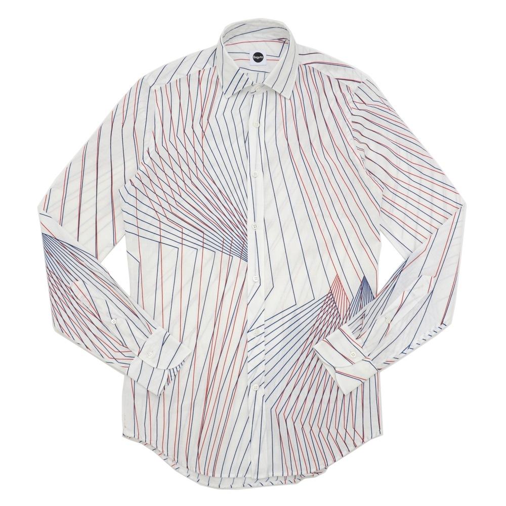 Bagutta(バグッタ)コットンリネンデフォーメーションストライプワイドカラーシャツ BERLINOB/06287 11071000054