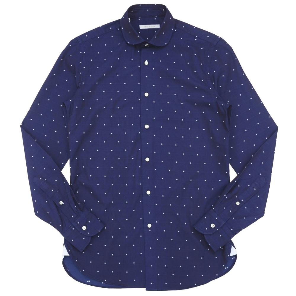 GUY ROVER(ギ ローバー)コットンシャンブレードットラウンドカラーシャツ W2240/571414 11171207027