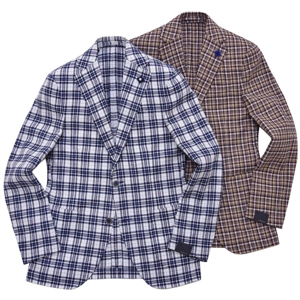 LARDINI(ラルディーニ)ウールコットンナイロンオーバーチェック3Bジャケット JK0526AQ/ECRP48599 17071009022